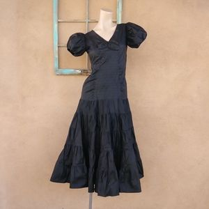 1930s Silk Taffeta Evening Gown Sz xS